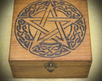 Celtic Knot Pentacle Wooden Box - Hand Pyrographed, Pagan, Wicca, Witch, 16x16x8cm