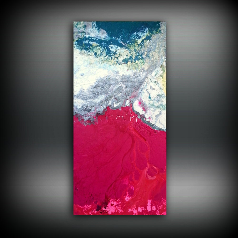 Magenta painting 24 x48 acrylic painting canvas art for How paint on canvas