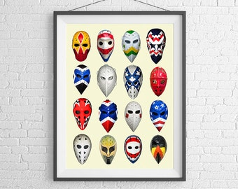 Vintage Collection of the Hockey Masks - from all Eras - Hockey NHL Art - Wall Art - Art Print