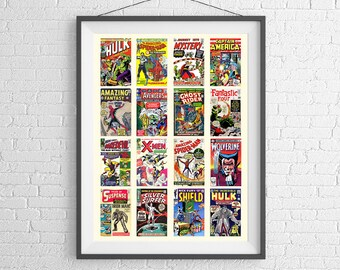 Marvel Comics Art Poster - Historical Collection of Comics - Art Print - Wall Art