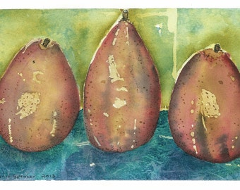Red Pears watercolour two originals 5.5 x 9.5