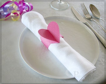 Pink Heart , Napkin Rings , Party Decorations , Paper Napkin Rings , Wedding Decor , Romantic Table Decor , Pink Napkin Rings Set of 4 HTD02