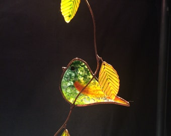 Pasture Signature Bird stained glass suncatcher