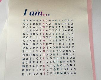 I am... Crossword Puzzle Blue Foil Print A4