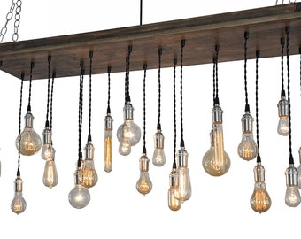 Urban Chandelier With Edison Bulb Pendants - Rustic Ceiling Light, Urban Lighting, Urban Hanging Light