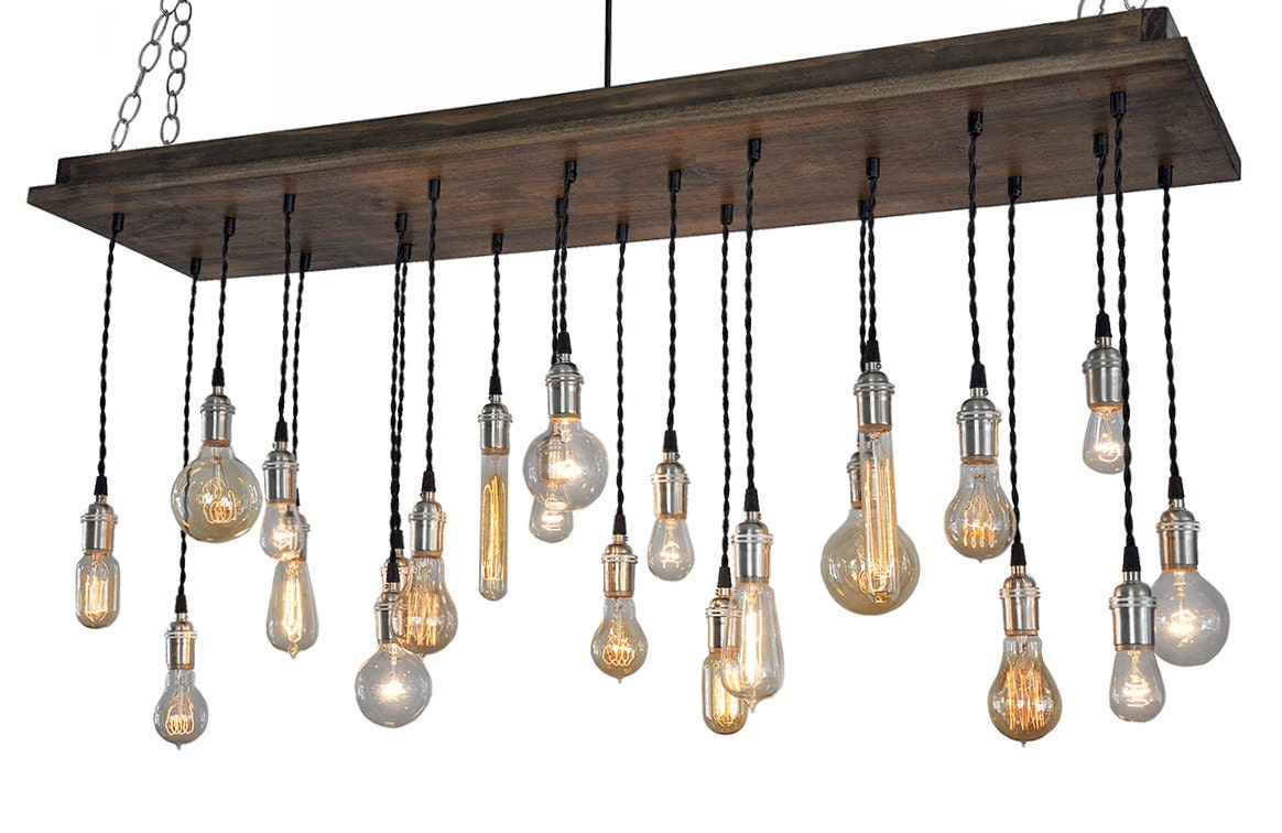 urban chandelier with edison bulb pendants rustic ceiling