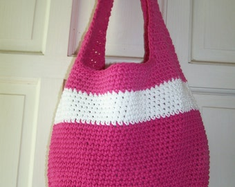 hand crocheted bright and white bag