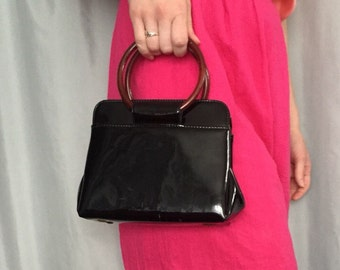 Black Patent Purse Vintage Small Plastic Circle Loop Handles Handbag Retro Summer