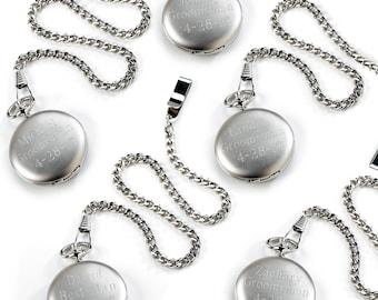 Groomsmen Personalized Pocket Watches - Groomsmen Gifts - Engraved Brushed Watch Set - GC225X5