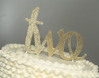 Cake Topper, birthday cake toppers, Second Birthday cake topper, Gold cake topper, two cake topper, birthday cake decorations