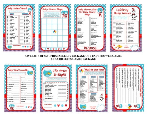 dr seuss baby shower game printable seuss games cat in the hat baby