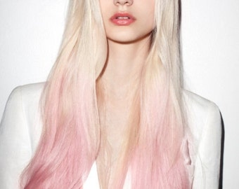 Magic-HALO-Secret -Miracle wire OMBRE -dip dye 100% Human Hair extensions/ 18 inches/ PINK-Lightest blonde