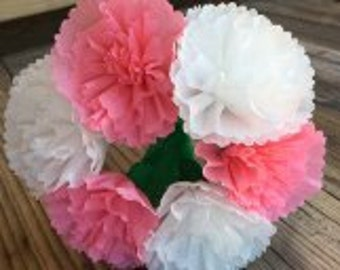 Mexican Crepe Paper flowers Light Pink/White Roses Bouquet of 6