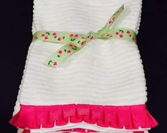 Pink box pleat ruffle  Hand Towels