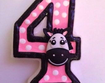 Zebra/Polka Dot Birthday Candle