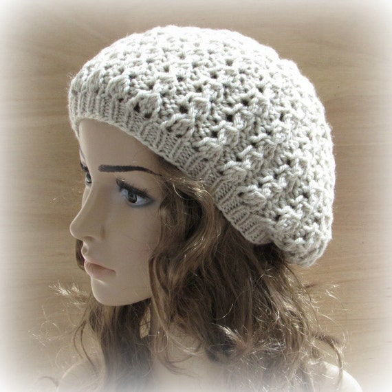 Chunky Lace Beret Womens Hand Knitted Knit Hat by CappelliHats