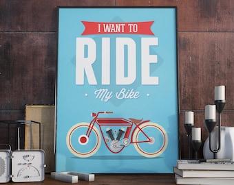 A3 Poster. Motor bike print.