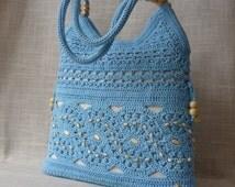 Ecru  handmade crochet handbag .Summer cotton boho crochet purse
