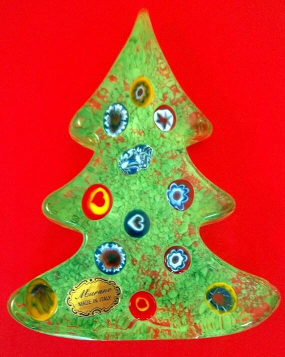 Murano art glass fused christmas tree green vintage ornaments - Murano glass christmas tree ...