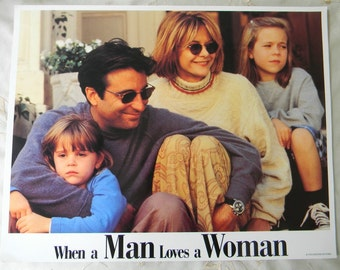 Vintage When A Man Loves A Woman Lobby Cards, 1994 Meg Ryan Andy Garcia Rare Collectible Movie Theater Display