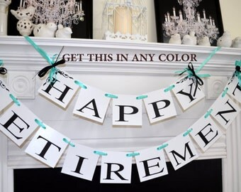 Happy Retirement banner, Retirement sign, teal green black office retirement party, Retirement party decorations