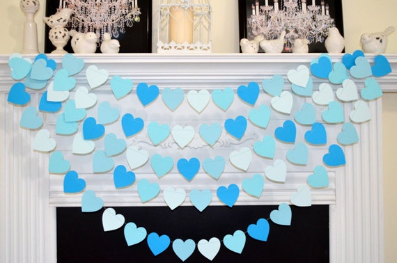 Baby blue shades of blue baby boy heart garland baby boy for Welcome home baby shower decorations