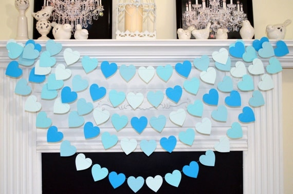 Baby blue shades of blue baby boy heart garland baby boy for Baby welcome party decoration ideas