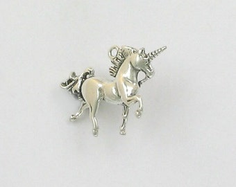 Sterling Silver 23mm 3D Unicorn Charm - ff28