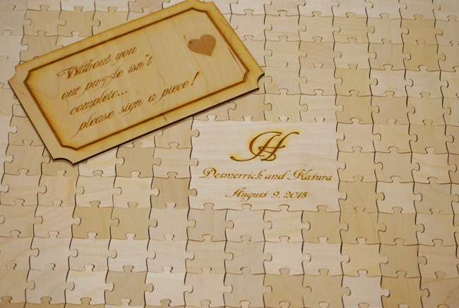 wedding puzzle guest book natural wood guest book for rustic