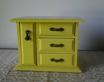 Vintage Hand Painted Jewelry Box in Sunny Yellow with Black Toile decoupager