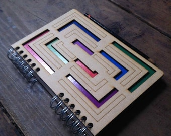 A5 recycled notebook geometric pattern.