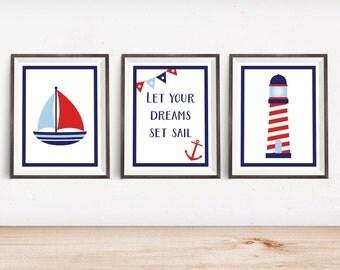 "Nautical Nursery Decor - Nautical Nursery Art Printable - Instant Download - 4x6"" 5x7"" 8x10"" 8.5x11"" A4 11x14"""