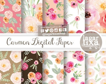 Shabby Chic, Roses, Watercolor, Digital Paper, Florals, wedding flowers, patterns, bouquet, background, bridal shower, for blog banner