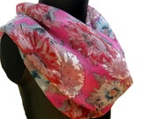 SALE! was 15 USD now...Infinity scarf, loop, circle scarf, multicolored, floral scarf in chiffon.Free shipping.