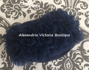 NAVY BLUE BLOOMER, chiffon ruffle diaper cover, photo prop, newborn ruffle bloomer-ready to ship!