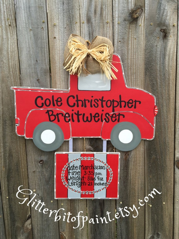 hospital door hanger with birth announcement by