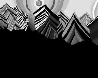 Black and White Trippy Mountain