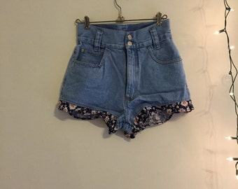 High Rise Floral & Denim Shorts