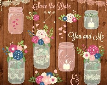 "Mason Jar Clipart "" WEDDING MASON JARS "" Rustic Mason Jars Clipart. Wedding invitation. Mason Jars Lace. Jars Png Images.Commercial Use"