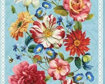 "Rainbow Garden cotton panel -- approximately 23"" x 44"""