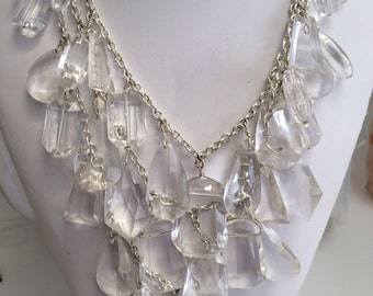 Haute Couture Statement Unique Fashion Lucite Crystal Chandlier Two Strand Stunning Necklace