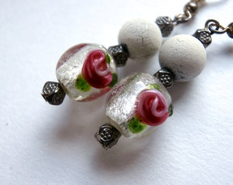 Glass Bead Earrings - Vintage - Dangle Earrings - Lampwork Glass Beads