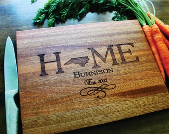 Personalized Cutting Board, State Love Wedding Gift, North Carolina(ANY STATE)Heart Over City, Anniversary, Housewarming, Family Established