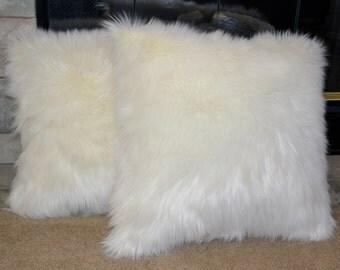 Faux Fur Pillow, White Faux Fur Pillow, Feather Down Pillows, 18x18, Decorative Pillow, Throw Pillow Ready to Ship
