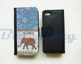 Elephant Floral in Blue iPhone X, iPhone 8, iPhone 7, iPhone 6 Case, iPhone 6s, iPhone 6 Plus, iPhone 5/5s, iPhone 4/4s, Leather Flip Case