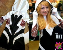 PREORDER - Gwen Stacy Spider Woman Spandex Cosplay Bodysuit and Hood - Spiderman Superhero Costume - Ships in MID MARCH
