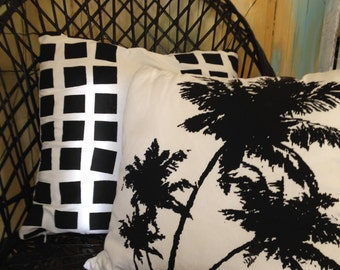 Cushion Pop Art Palmtree Monochrome screenprint from TROPPO Collection 45cm / handmade
