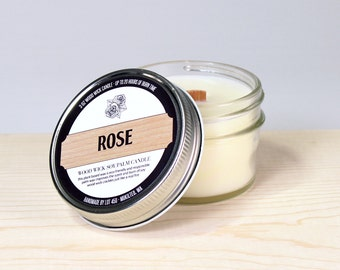 Rose Scented Candle, Floral Scented Candle, Scented Soy Candle, Wood Wick Candle, Mason Jar, Flower Scent, Country Home Decor,  Garden Roses