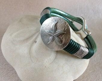 Green Leather / Silver Starfish Bracelet