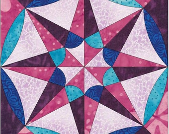 Faceted Star Paper Template Quilting Block Pattern PDF